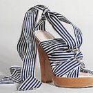 Coach Kimi Striped Grosgrain Sassy Strappy Sandal - size 9 - AUTHENTIC - NAUTICAL!