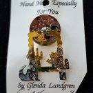 COYOTE CACTUS 3D Pin Brooch - Handmade by GLENDA LUNDGREN - SILVER & GOLD TONE!