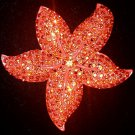 Bright Orange Rhinestone Flower Pin Brooch - LARGE - STRIKING!