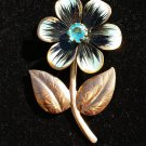 Vintage Aqua Flower Pin Brooch - ENAMEL PEDALS - LARGE RHINESTONE CENTER - SIMPLE & FUN DESIGN!