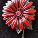 Vintage Burgandy & Black Flower Pin Brooch - PINK RHINESTONE CENTER!