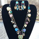 LUCY ISAACS Enamel Heart Gold Multi Charm Necklace AND Pierced Earring Set - SIGNED
