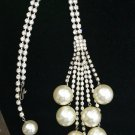 Gorgeous Rhinestone & Pearl Dangle Necklace!