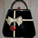 PARTYLITE Miniature Black Purse Candle Holder Tea Light - Complete with Rhinestone Accents!