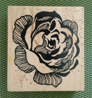 Rose Wood Mounted Rubber Stamp #K-1786 by Home Decor PSX from 1996 - MADE IN USA - RETIRED - NEW!