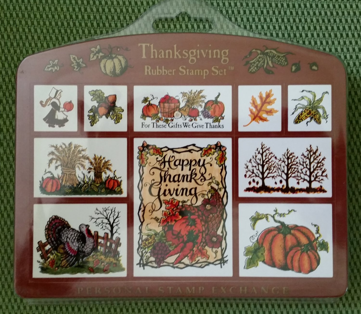 Thanksgiving 9 Piece Rubber Stamp Set by Personal Stamp Exchange #SK137 - MADE IN USA - NEW!