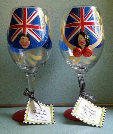 Original Ta-Ta Handpainted Wine Glasses by Jody - His & Hers - Set of 2 - BRITISH THEME!