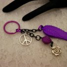 Purple Feathered Key Chain Choose ONE Color