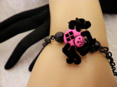 Pink and Black Spider Bracelet