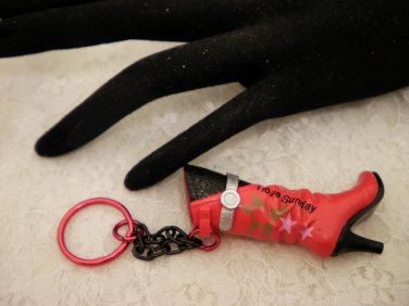 Red and Black Boot Key Chain