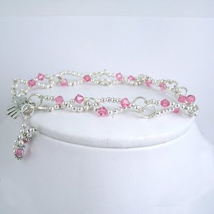 Pink Crsytal Ribbon Awareness Bracelet
