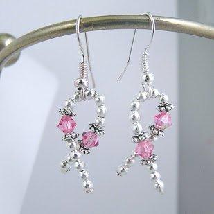 Pink Crystal Ribbon Awareness Earrings