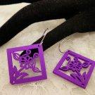 Purple Square Wood Cut Earrings Choose Your Color
