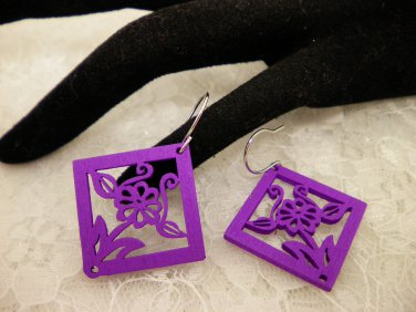 Purple Square Wood Cut Earrings Choose Your Color