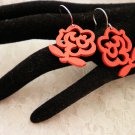 Red Wood Rose Cut Out Earrings Choose Color