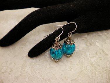 Blue Crackled Glass Earrings