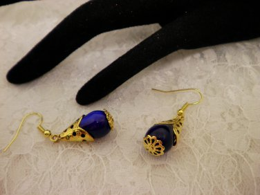 Blue Tear Drop Golden Earrings