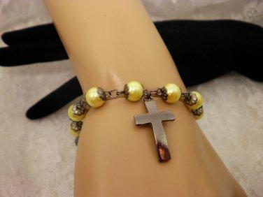 Yellow Pearled Prayer Bracelet