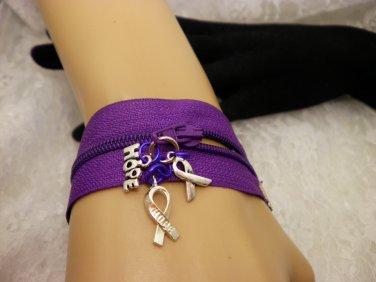 Purple Zipper Awareness Bracelet