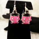 Pink Crystalized Lady Bug Earrings