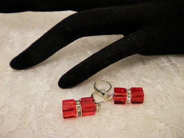 Red Cubed Crystal Earrings