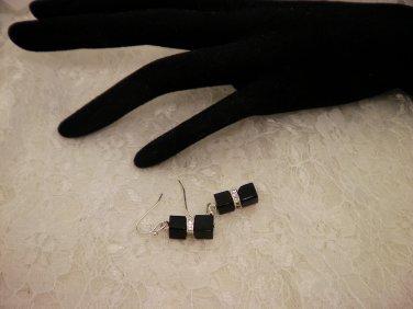Black Cubed Crystal Earrings