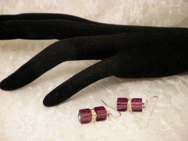 Purple Cubed Crystal Earrings