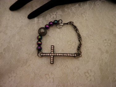 Gum Metal Crystal Cross Bracelet