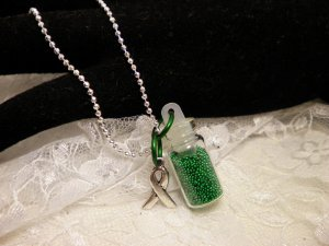 Awareness Green Bottle Necklace
