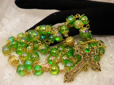 Green and Gold Beaded Rosaries