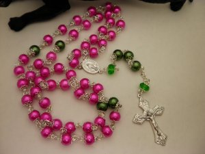 Pink and Green Pearled Rosaries