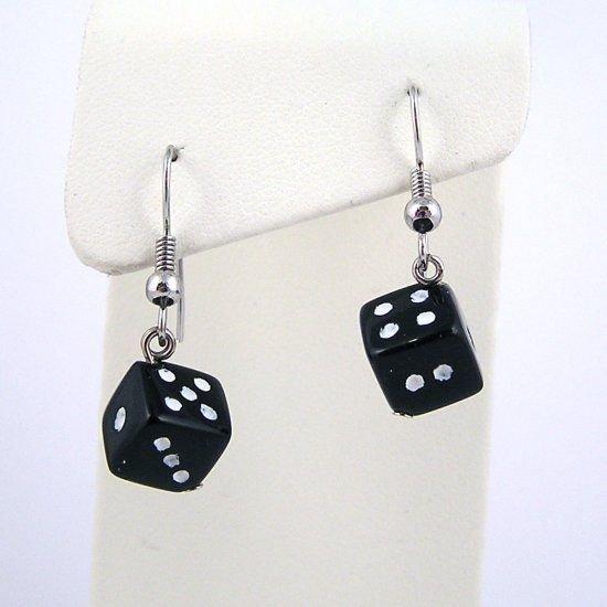 Black Square Dice Charmed Earrings