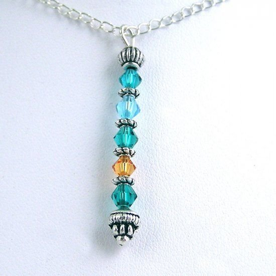 Custom Made Mothers  Silver Birthstone Necklace Choose Your Colors