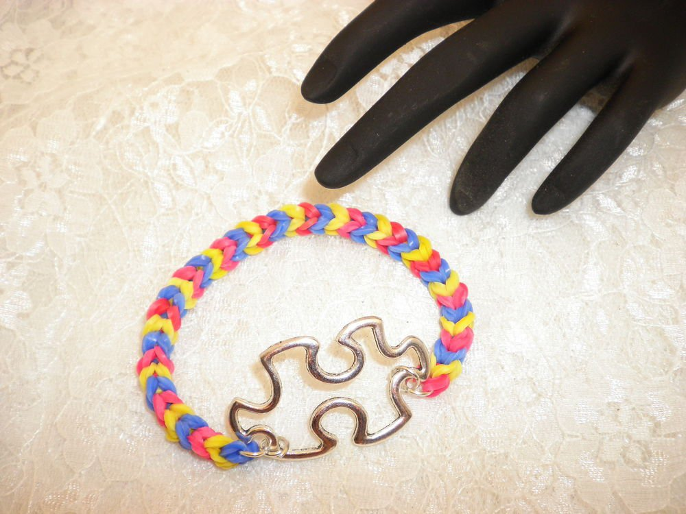 Custom Made Autisum Awareness Charmed Rubber Band Bracelet