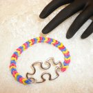 Custom Made Autisum Awareness Charmed Rubber Band Bracelet