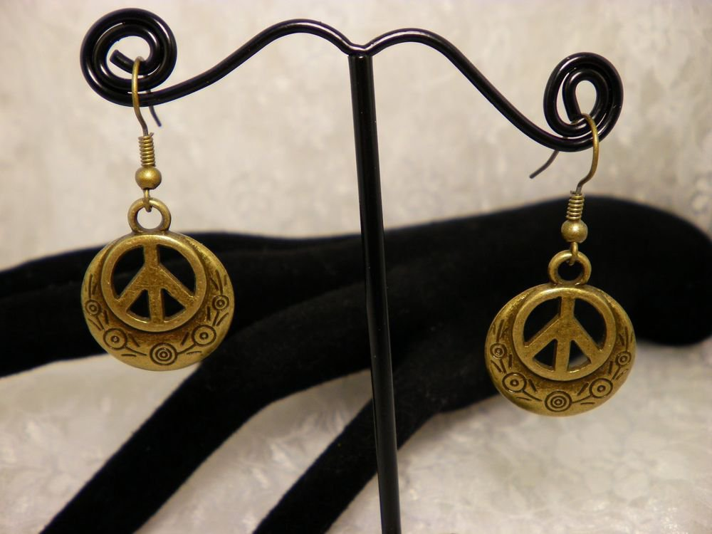 Bronze Peace Sign Metal Earrings Choose Silver Also
