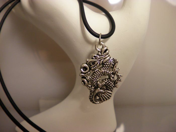 Silver Dragon Charm Necklace