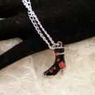 Black Red Crystal Boot Charm Necklace