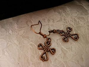 Copper Cross Charm Earrings