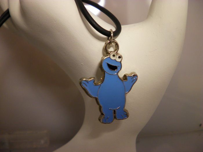 Cookie Monster Metal Charm Necklace