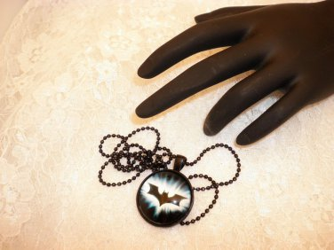BatmanStyle Gothic Black Framed Glass Pendant Necklace Choose Your Hero