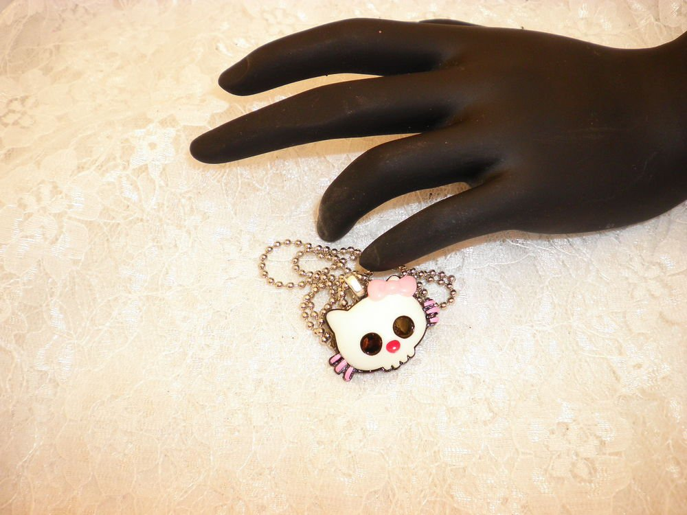 Hello Kitty Gothic Skull Pendant Necklace