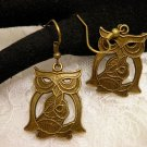 Bronze Celtic Style Owl Earrings