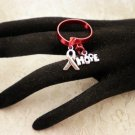 Custom Made Awareness Flat Wire Red Adjustable Charmed Ring Choose Your COLOR