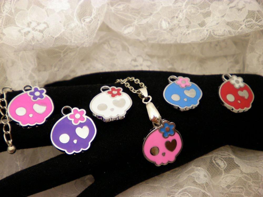 Sugar Skull Charm Necklace Choose ONE Color