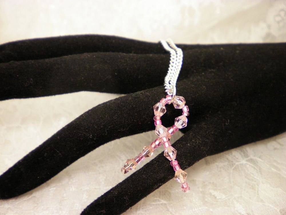 Custom Made Awareness Crystal Ribbon Pendant Necklace Choose Your Cause
