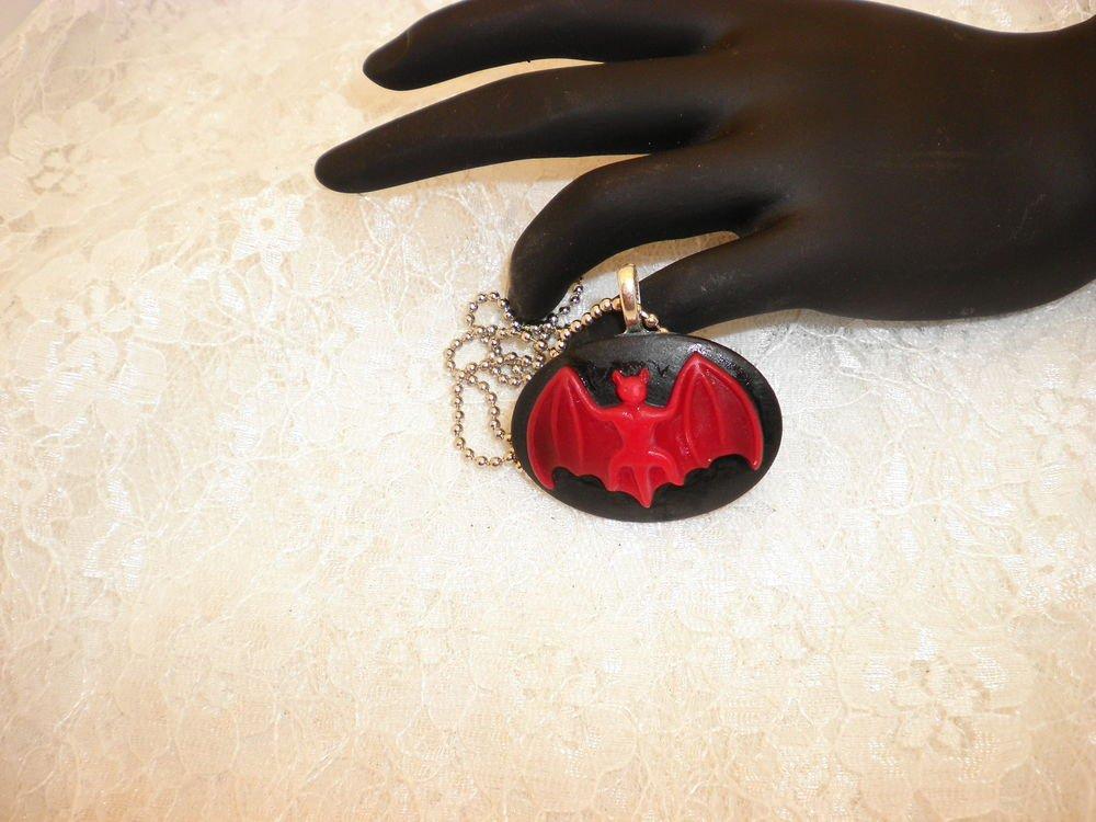 Gothic Bat Cabochon Pendant Necklace