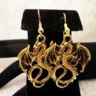 Golden Dragon Charm Earrings