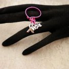 Custom Made Awareness Flat Wire Pink Adjustable Charmed Ring Choose Your COLOR
