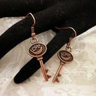 Copper Love Key Charm Earrings